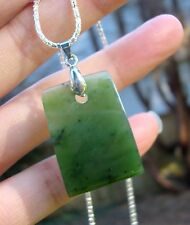 "Canadian Top Grade Polar Jade Curved New Zealand Toki  Pendant SS 18""  Chain"