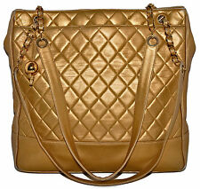 "CHANEL 14.5"" Jumbo Metallic Gold Quilted Lambskin Leather Shoulder Bag Tote"
