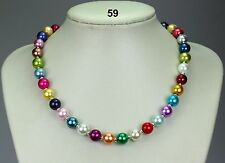 Multi-coloured glass bead necklace, silver spacers, quite weighty,random colours