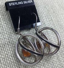 Vintage Sterling Earrings Baltic Honey Amber Orb In Hoop Black Enamel Pierced