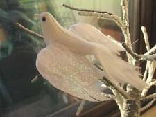 White Feather Dove with Glitter - Artificial Feather Dove - Open Wingspan - 11cm
