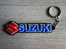 New SUZUKI Keychain Key ring Blue Black Rubber Motorcycle Car Collectible Gift