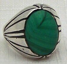 LARGE HEAVY ESTATE MEN'S MALACHITE & STERLING SILVER BAND RING SIZE 8.25