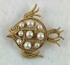 Mamselle Fish Brooch Goldtone Faux Pearl