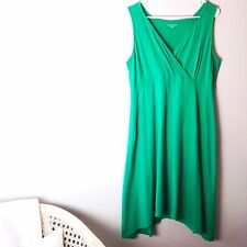 EILEEN FISHER Womens Green Slveless Dress SZ L Asymmetrical Hem Organic Stretchy