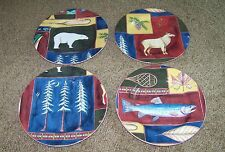 """""""Northern Lights"""" American Atelier """"At Home"""" Set Of 4 Porcelain Plates"""