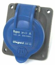 LEGRAND HYPRA 520-22 PANEL MOUNT RECEPTACLE, 2P+, 16A-6H, 200/250V, 52022