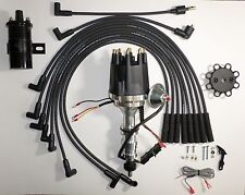 Small Cap FORD FE 352-390-427-428 BLACK HEI Distributor +Round Coil + Plug Wires