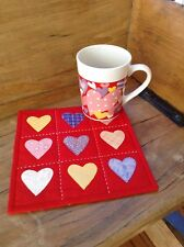 Valentine Matching Mug Rug and Mug Cup Red Hearts Handmade Quilted Appliqued