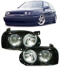 BLACK TWIN / DOUBLE HEADLIGHTS HEADLAMPS FOR VW GOLF MK3 MK 3 NICE GIFT