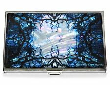 Business Credit Card Case Metal ID Holder mother of pearl Blue Kaleidoscope Tree