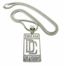 MENS ICED OUT GOLD MEEK MILL DREAM CHASERS PENDANT CZ CUBAN LINK CHAIN NECKLACE
