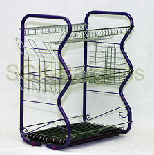 Purple Large 3 Tier Chrome Dish Drainer Drip Tray Glass Plates Rack Kitchen GIFT