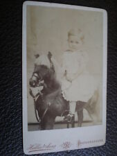 CDV old photograph girl on toy horse by Hellis of London c1880s