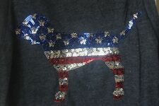 PINK Victoria's Secret Gray 4th of July Tank Top Sequin Bling DOG Medium (M) NEW