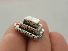 2 Book charms antique silver tone PT11