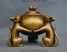 "7"" Marked Chinese pure bronze peanut Mouse Mice rat Statue Incense burner Censer"