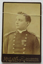 Cabinet Card Photo, Spanish American War Soldier with Medal, Division of IND.