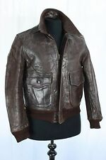 Vtg 40s Brown HORSEHIDE A-2 Leather Jacket FLIGHT Motorcycle Biker Small/Medium