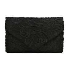 Premium Lace Paisley Floral Fabric Satin Envelope Flap Clutch Evening Bag