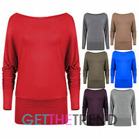 Womens Off Shoulder Batwing Top Ladies Jersey Long Sleeve Mini Tunic Dress Top