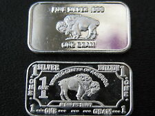 1 G GRAM SOLID .999 FINE SILVER BUFFALO BULLION BAR INGOT