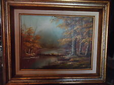 I.CAFIERI ORIGINAL OIL ON CANVAS TREE LINED STREAM LANDSCAPE PAINTING-VERY NICE