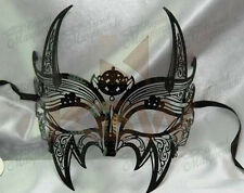 Mens Superhero Costume Filigree Light Metal Venetian Black Masquerade Mask