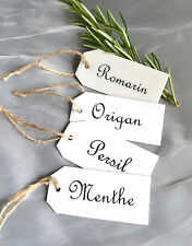 Set of 4 French Enamel Tags Herb Garden Labels Vintage Style Sign Gardeners Gift
