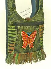 FAB NEW SMALL GREEN BOHEMIAN BUTTERFLY BAG HIPPIE PURSE SHOULDER BODY PASSPORT