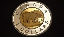 2016 Canada GOLD PLATED SILVER PROOF TWO DOLLAR Coin -  NICE & RARE TOONIE! - $2
