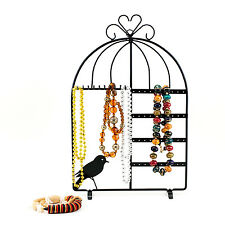 Black Metal Bird Cage Jewelry  Necklace Bracelet Display Organizer Showcase Stan