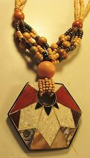 Vintage 60s Lucite Mother of Pearl Wood Stone Inlaid Bead Pendant Necklace