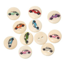 100 pcs Wood Mixed 2 Hole Wooden Round Car Sewing Card Making Craft Buttons 15mm