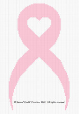 Crochet Patterns-AWARENESS  BREAST CANCER PINK HEART RIBBON afghan pattern*EASY
