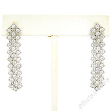 Elegant 14k White Gold 2.25ctw Diamond Long Geometric Chandelier Dangle Earrings