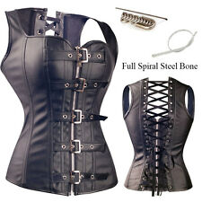 SEXY 2 Steel Busk Lace Up Waist Training Corsets Dress Steampunk Plus SIZE S-6XL