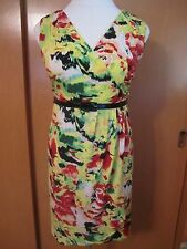 Women's Plus Lane Bryant yellow black green red faux wrap dress Size 22/24 EUC