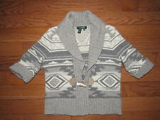 Ralph Lauren Gray Wool Angora Indian Blanket Toggle Cardigan Sweater PM