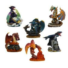 6 Little Ancient Elemental Vivid Color Dragon Figurines Set Statues Collection