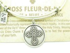 "Wind and Fire ""Cross Fleur-De-Lis"" Charm Wire Bangle Bracelet Made In USA Gift"