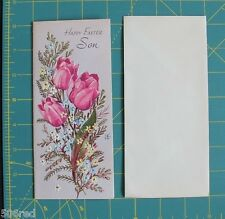 Vtg UNUSED Son Easter Card 1950's? Purple Tulip Good Wishes Love Gibson 3D Text