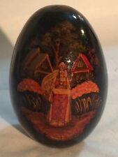 Beautiful Hand Painted Russian Wooden Egg Girl in Village Scene