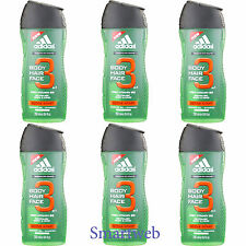 6 x 250ml Adidas 3 en la 1 Pelo & Body Activo Start Gel de ducha
