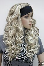 New fashion 3/4 wig with headband blonde mix curly long women' half wigs