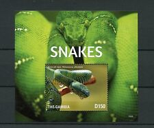 Gambia 2015 MNH Snakes 1v S/S Reptiles Green Pit Viper