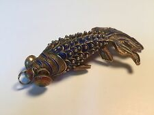 Gorgeous Chinese Gold Gilt Silver & Enamel Koi Fish Reticulated Pendant!!