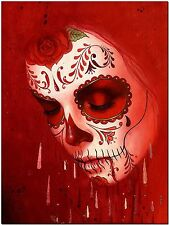 Day of the Dead Sugar Skull Red High Quality Canvas Print Painting Drawing Photo