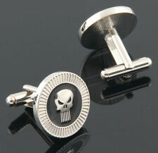 New Silver Color Skull Punisher Stainless Steel Cufflinks Men Wedding Party Gift