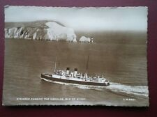 POSTCARD RP ISLE OF WIGHT 1955 STEAMER PASSING THE NEDDLES